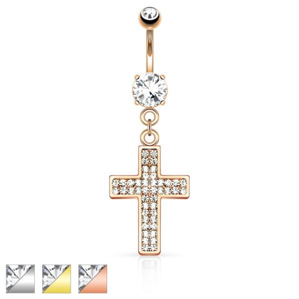 Krzyż kolczyk do pępka stal szlachetna 316L piercing