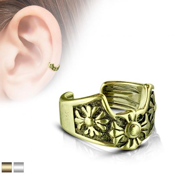 Fleur de Lis złoty klipsy do ucha kolczyk helix bez przekłuwania oszukany piercing