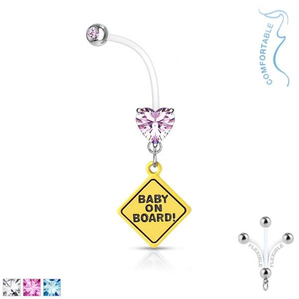 Baby on Board kolczyk do pępka z bioflexu dla kobiet w ciąży
