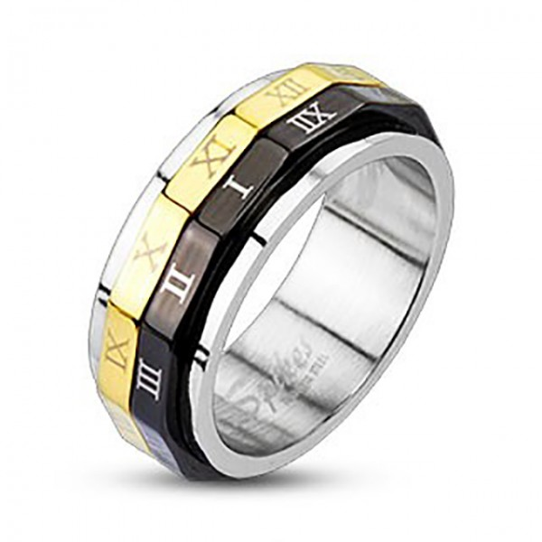 Czarny złoty podwójny pierścionek stal chirurgiczna 316L