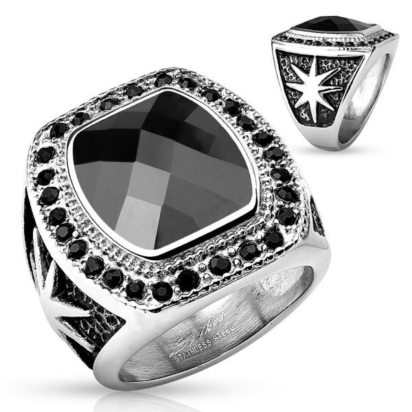 Duży czarny kamień pierścionek ze stali szlachetnej