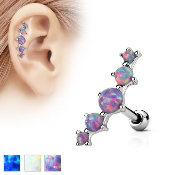 Opal 5 kryształków nausznica kolczyk do chrząstki ucha tragus helix cartilage stal chirurgiczna 316L piercing