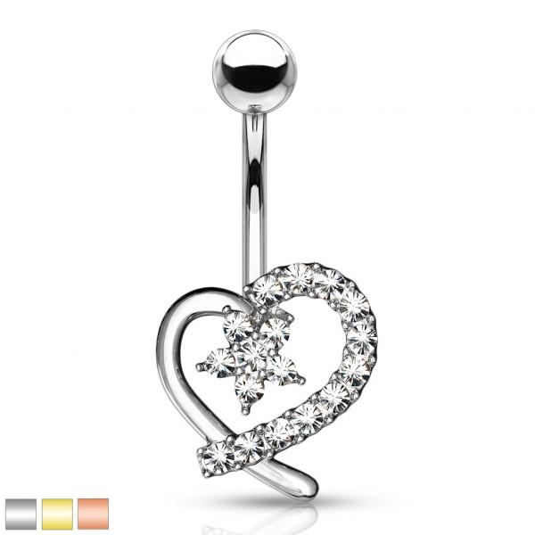Serce z cyrkoniami kolczyk do piercingu pępka