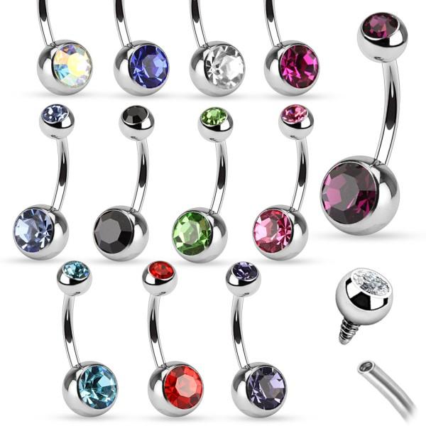 gwint wewnętrzny stal chirurgiczna 316L podwójne z kamieniami pępek pierścionek Bulk opakowanie 120 sztuka (10 sztuka x 12 Colors)