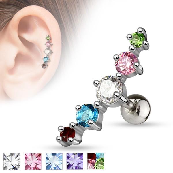 5 kryształków kolczyk do chrząstki ucha tragus helix stal chirurgiczna 316L piercing