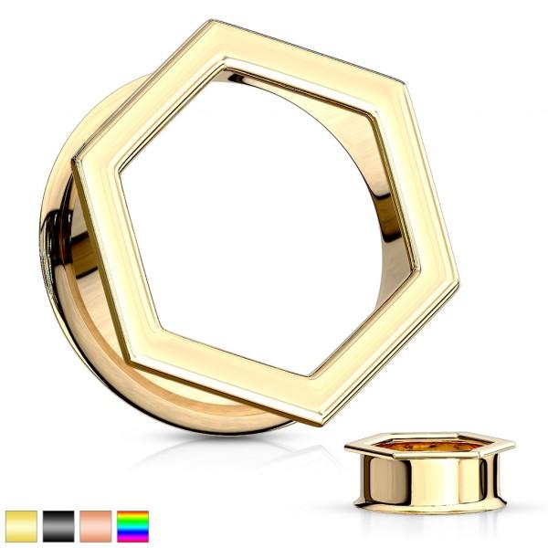 Hexagon Tunel do ucha stal chirurgiczna Powłoka PVD
