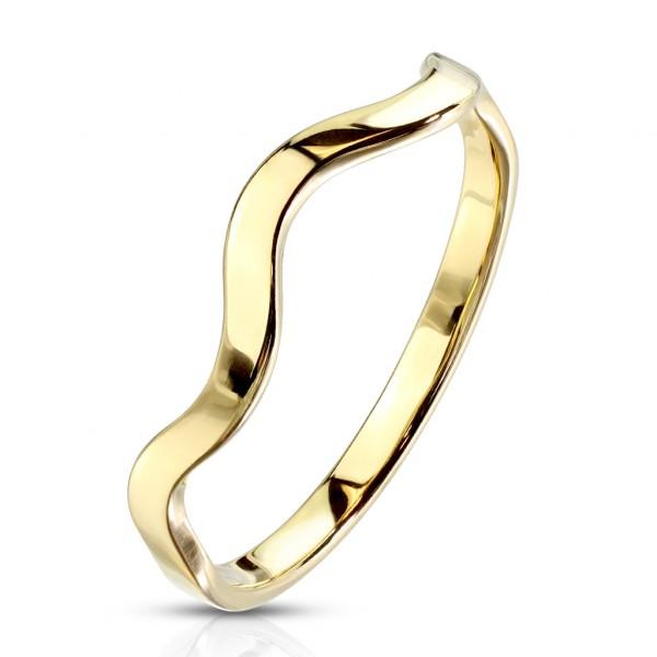 Złoty krzywy pierścionek damski męski obrączka fala