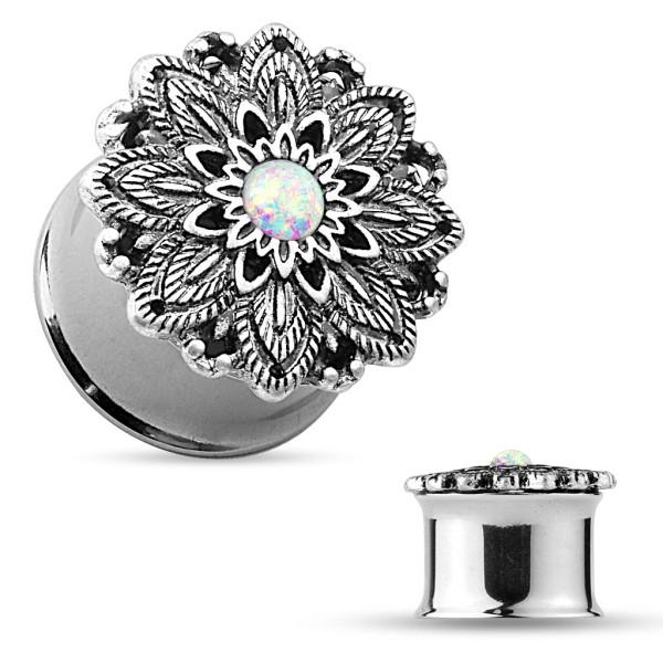 Kwiat Lotosu opal Plug Flesh Tunnel piercing kolczyk do ucha