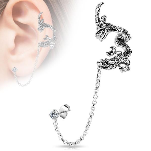 Latający smok łańcuszek nausznica kolczyk do ucha i chrząstki ucha piercing Ear cuff