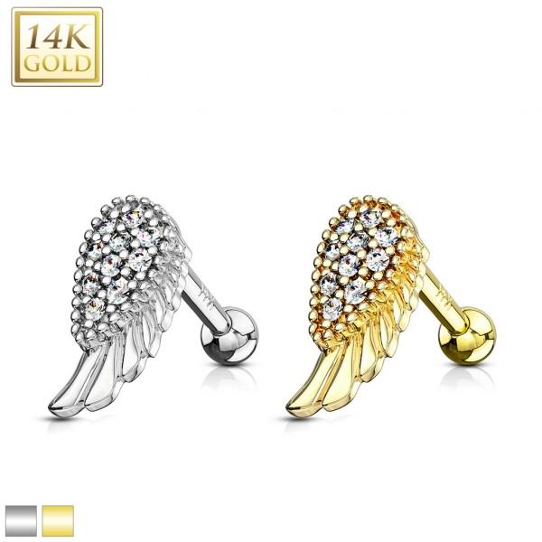 Skrzydło anioła kolczyk tragus helix piercing do chrząstki ucha prawdziwe złoto 14 karatowe