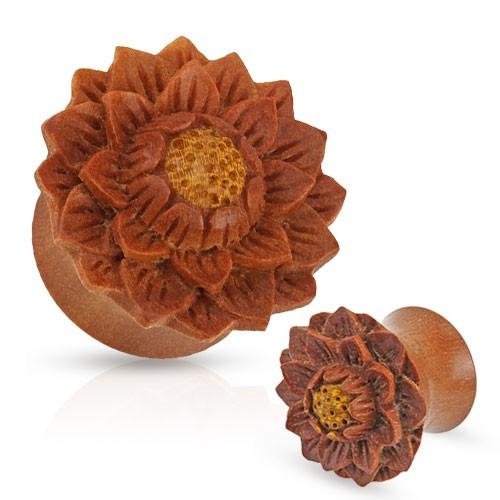 Kwiat drewno Sawo Plug Flesh Tunnel piercing kolczyk do ucha