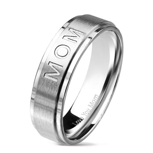 Love You Mom srebrny anodyzowany pierścionek obrączka