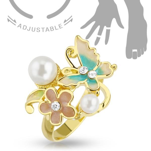 Motylek perły kwiatek złoty pierścionek na palec u dłoni lub stopy rozmiar dający się regulować