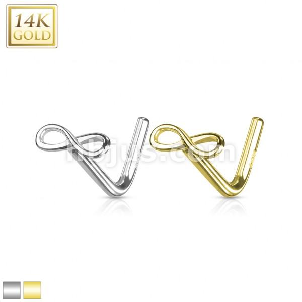 Nieskończoność kolczyk do nosa nostril piercing złoto 14 karatowe 585
