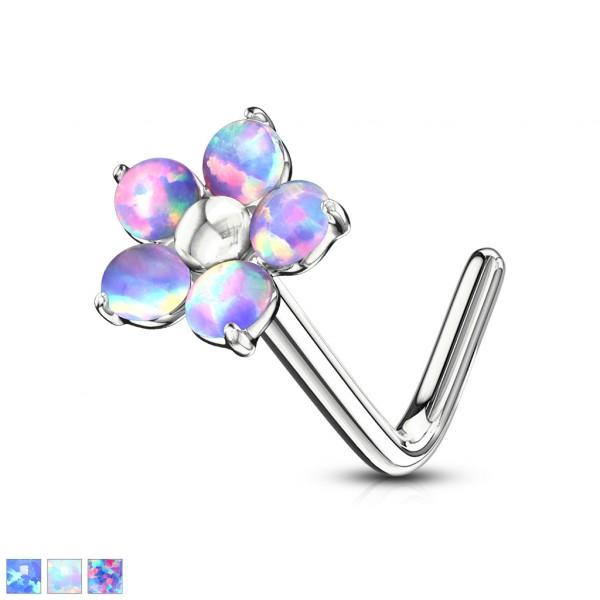 Opal kwiatek kolczyk do nosa kształt L piercing nostril