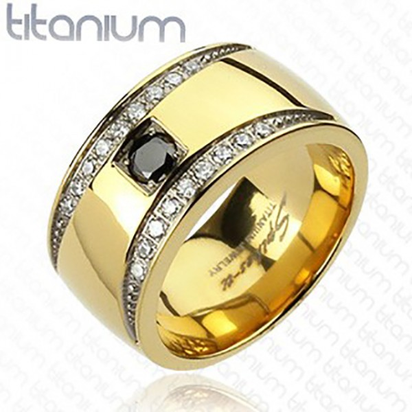 Półksiężyc pokryty złotem pierścionek tytan
