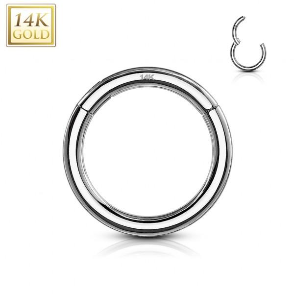 Kolczyk kółko segment clicker piercing nosa septum daith tragus helix warga białe złoto 14 karatowe