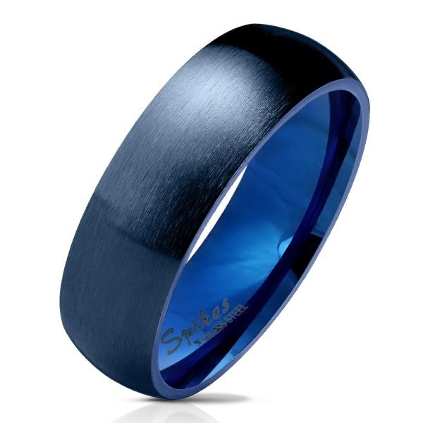 matowy Finish i - błyszczący strony i w środku klasyczny kopułka niebieski stal szlachetna pierścionek pierścionki