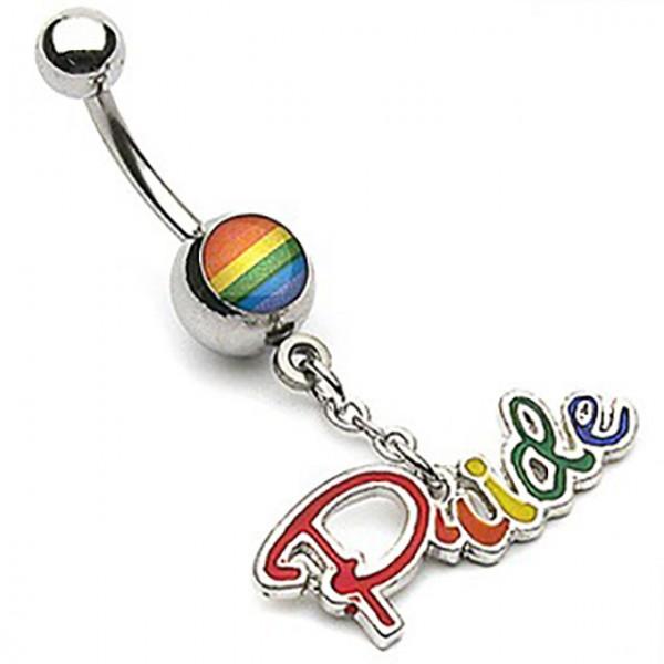 Gay Pride tęcza kolczyk do pępka stal chirurgiczna piercing