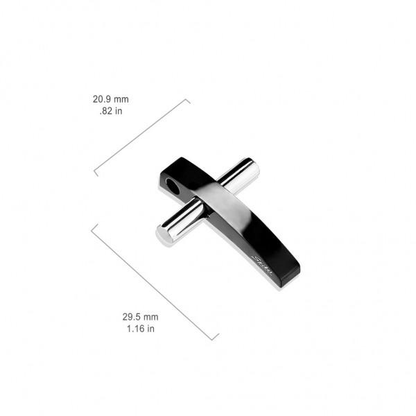 Tonacja kolorów czarny i Sliver krzyż stal chirurgiczna 316L zawieszka