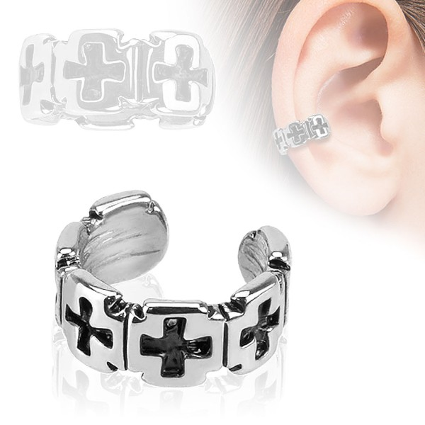 8fe46907835a80 Krzyż Nausznica Ear cuff kolczyk do ucha i chrząstki ucha klips bez  przekłuwania piercing