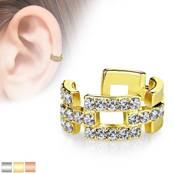 Prostokąty złoty klipsy do ucha kolczyk helix bez przekłuwania oszukany piercing nausznica