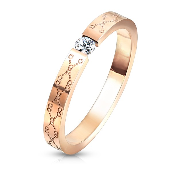 Cyrkonia różowe złoto pierścionek damski obrączka