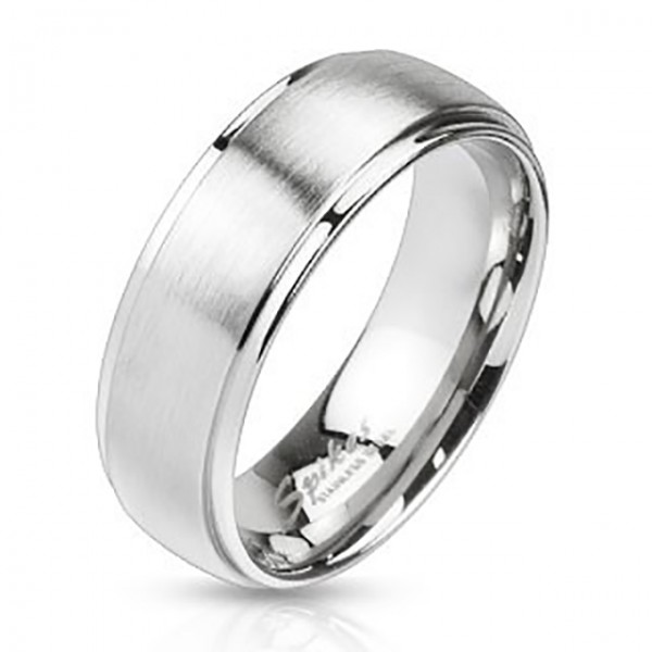 Matowypolerowany ranty metal szlachetny pierścionek ze stali szlachetnej