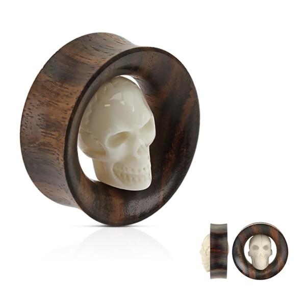 Czaszka z kości i drewno sono Plug Flesh Tunnel piercing kolczyk do ucha