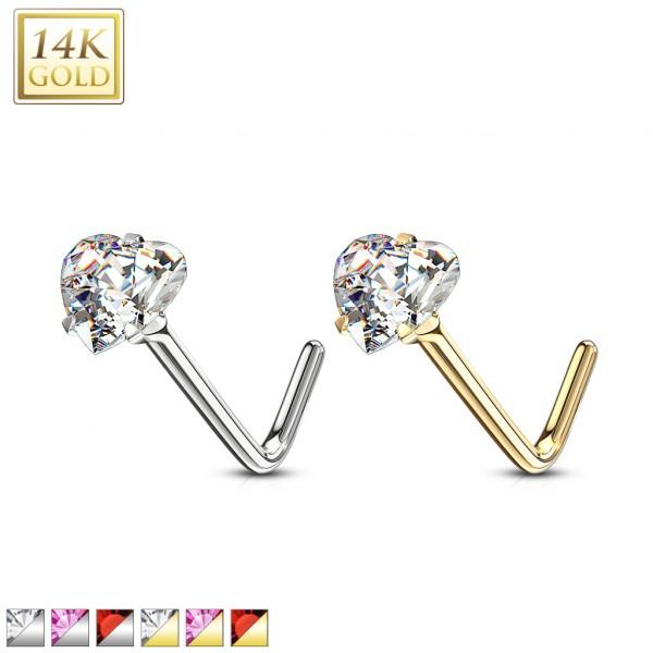 Serce kolczyk do piercingu nosa kształt L złoto 14 karatowe