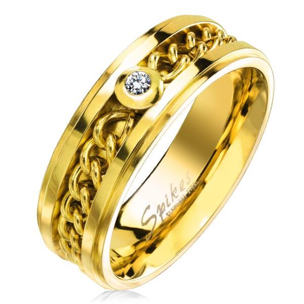 Łańcuszek cyrkonia złoty pierścionek