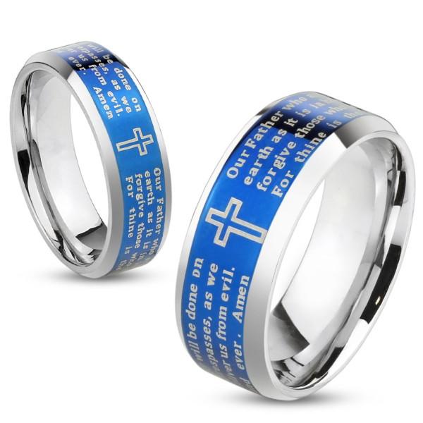 Ojcze nasz niebieski z powłoką ścięty rant pierścionek ze stali szlachetnej