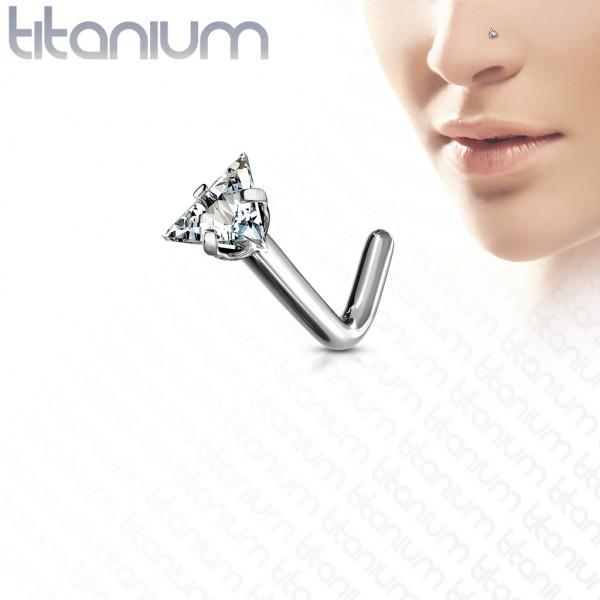Cyrkonia Trójkąt kolczyk w kształcie L piercing kolczyk do nosa tytan G23