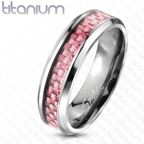 Różowy włókno węglowe pierścionek tytan