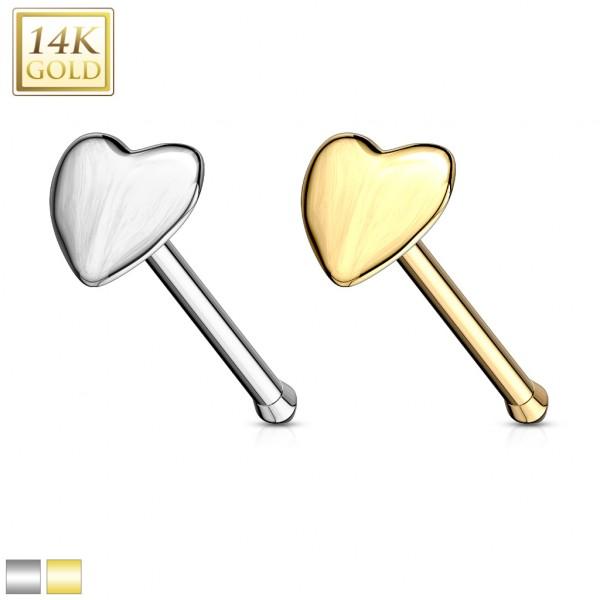 Serce prosty kolczyk do nosa prawdziwe 14 karatowe złoto 585