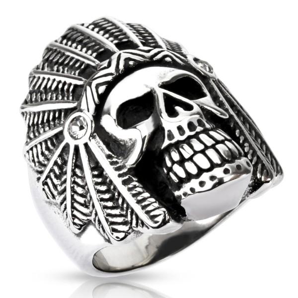 Czaszka szeroki pierścionek ze stali szlachetnej