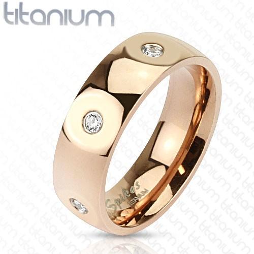 kamień pozłacany różowym złotem pierścionek