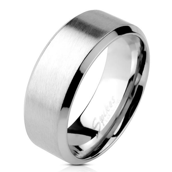 Ring Silber abgeschrägte Kanten 316L Chirurgenstahl