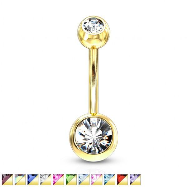 2 cyrkonie różne kolory kolczyk do pępka pozłacany 14 karatowym złotem piercing