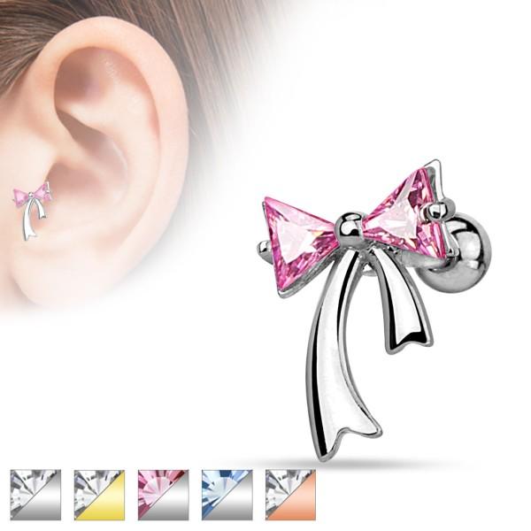 Wstążka kolczyk sztanga piercing do chrząstki ucha helix tragus 316L