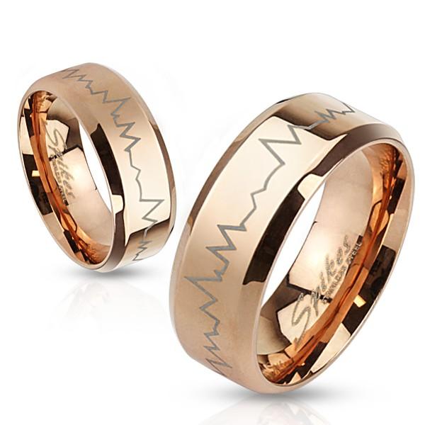 Heartbeat grawura laserowa stal szlachetna pozłacany różowym złotem pierścionek