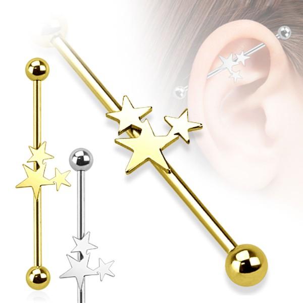 Gwiazdy kolczyk do chrząstki ucha Industrial Surface Bar barbell piercing
