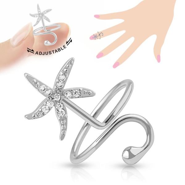 Rozgwiazda cyrkonie pierścionek na palec rozmiar dający się regulować