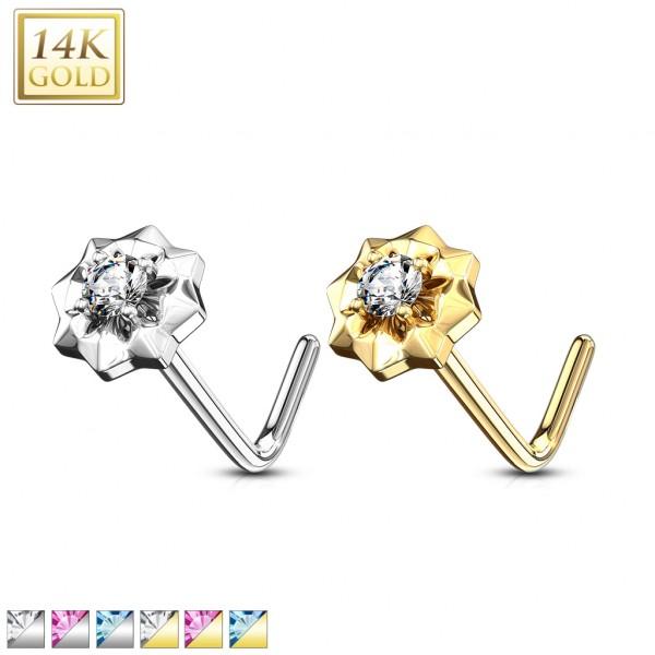 Kwiatek kolczyk do nosa nostril piercing złoto 14 karatowe 585
