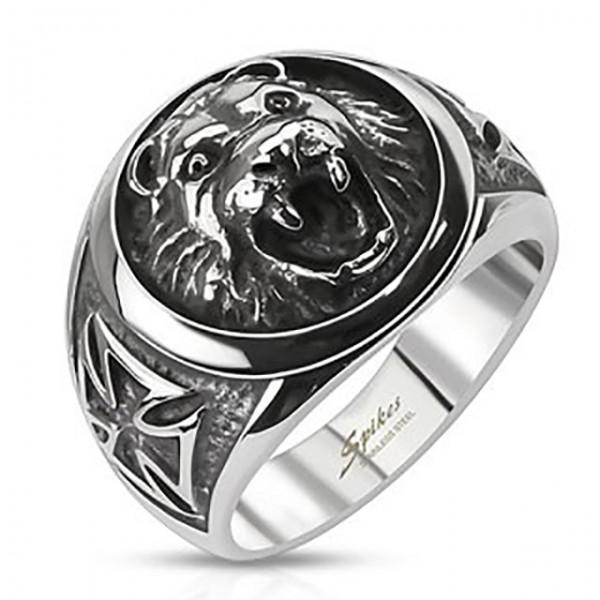 Lew głowa krzyż celtycki pierścionek ze stali szlachetnej