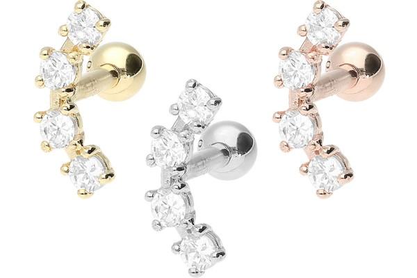 Złoto 18 karatowe kolczykk do piercingu ucha helix 4 kryształy
