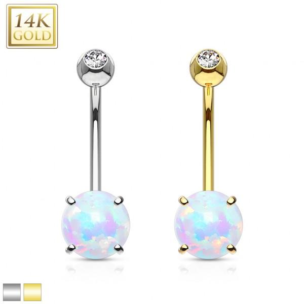 6mm opal kolczyk do pępka piercing prawdziwe złoto 14 karatowe