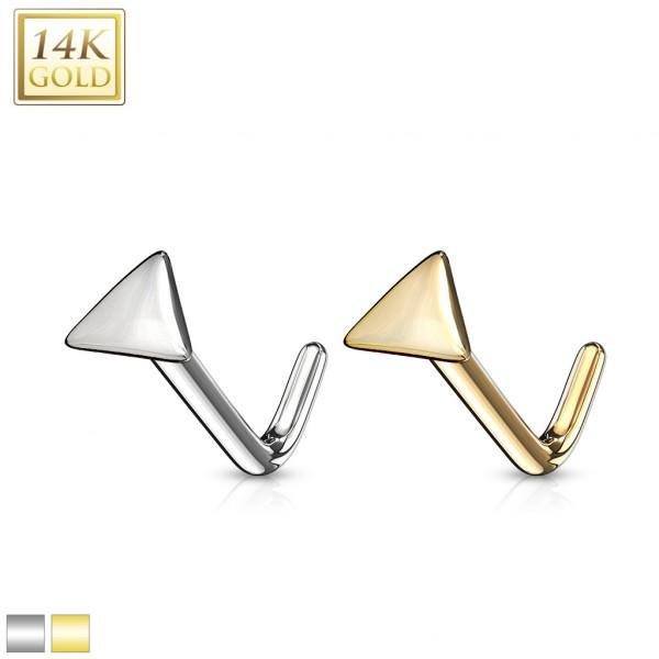 Trójkąt kolczyk do piercingu nosa kształt L Złoto 14 karatowe