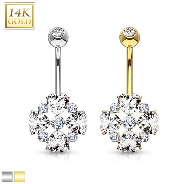 Serce kwiaty złoty kolczyk do pępka 14 karatowe złoto 585 piercing