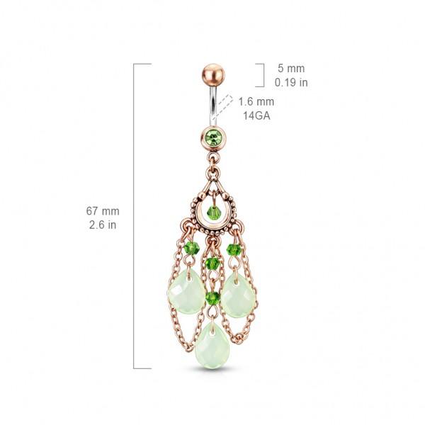 Vintage zielone kamienie kolczyk do pępka piercing